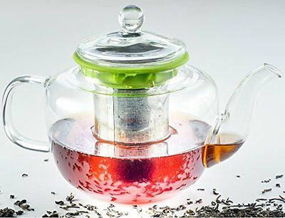 Hand Made Glass Teapot with Tea Infuser by Prolific Teacup Removable Strainer