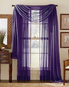 DreamKingdom - 2 PCS Solid Sheer Window Curtains/Drape/Panels/Treatment Brand