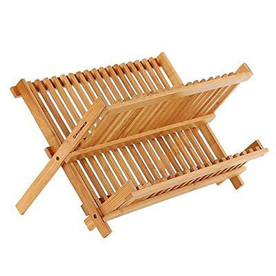 Songmics 2 Levels Bamboo Folding Dish Rack Dish Drying Rack Holder Utensil