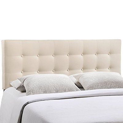 LexMod Emily Fabric Headboard Queen Ivory