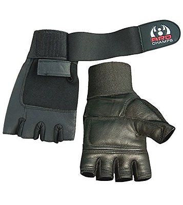 Leather Weight Lifting Gloves Long Wrist Wrap Padded Strength Training Gym Size