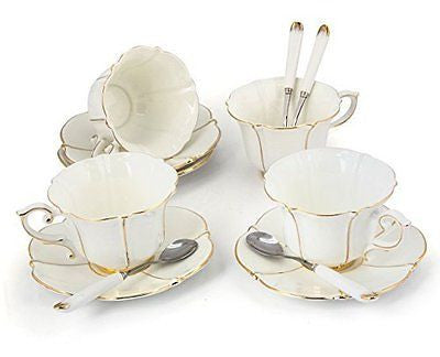Porcelain Tea Cup and Saucer Coffee Cup Set with Saucer and Spoon Set of 4