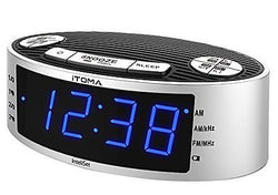 Blue LED Alarm Clock Radio with AM FM, Dual Alarm, Auto Time and Date Setting