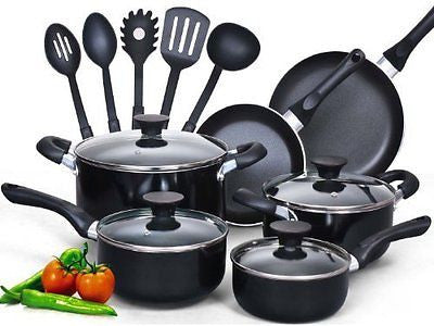 15 Piece Non stick Black Soft handle Cookware Set