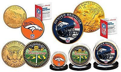 50th ANNIVERSARY SUPER BOWL Officially Licensed U.S. 3-COIN Set  DENVER BRONCOS