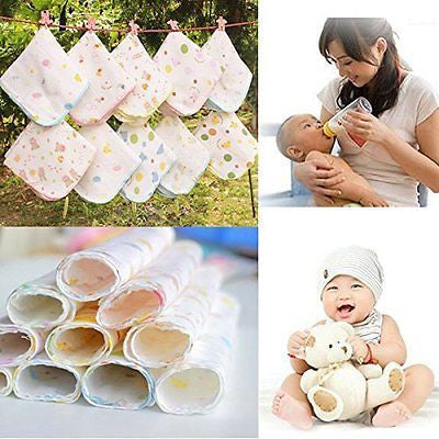[Free Shipping] 10Pcs Cotton Muslin Baby Gauze Washcloth Feeding Wipe Sweat