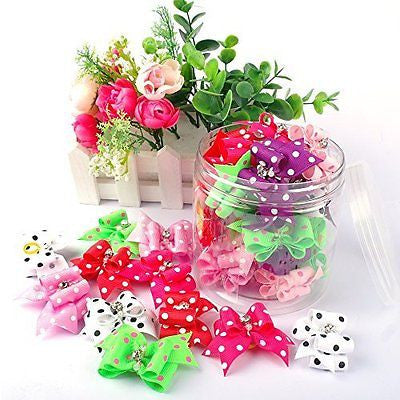 Berry 20pcs Cute Dog Hair Bows with Rubber Bands Nylon Pet Grooming