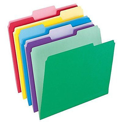 Pendaflex File Folders with InfoPocket, Letter Size, 1/3 Cut, Assorted Colors