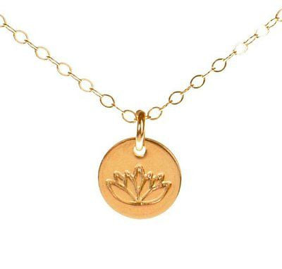 Lotus Necklace, Tiny Gold Filled Yoga Pendant on 14k Gold Filled Chain