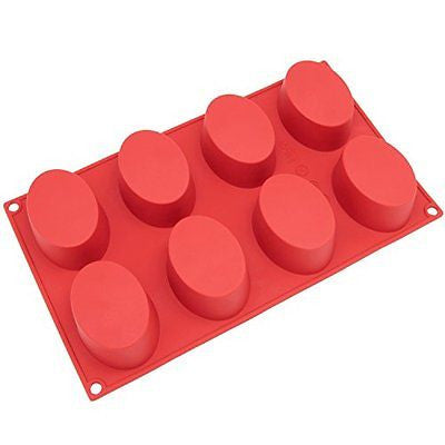 Freshware SL-118RD 8-Cavity Oval Silicone Mold for Soap Cake Bread Cupcake