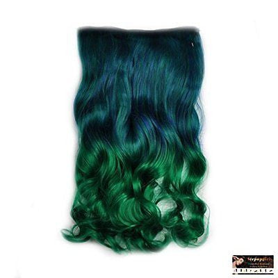 Stepupgirl Grass Ombre Curly Head Synthetic Clip Extension Souvenir Card