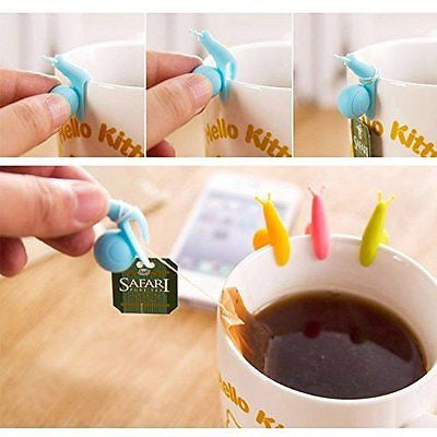 Cute Snail Shape Silicone Tea Bag Holder Cup Mug Candy Colors Gift Set (10)