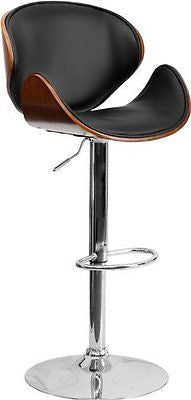 Walnut Bentwood Adjustable Height Bar Stool with Curved Vinyl Seat and Back