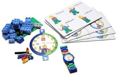 LEGO Time Teacher 9005008 Blue Set with Plastic Watch, Constructible Clock