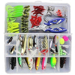 101pcs Fishing Lure Set Including Spoon Lures Soft.Hard Plastic Lures Pliers