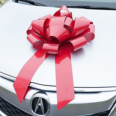 Red Car Bow - HUGE Magnetic Bows - Premium Gift Wrap for your Automobile
