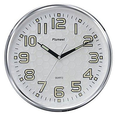 Plumeet 13-Inch Wall Clock with Silent Non-Ticking Night Lights for Indoor