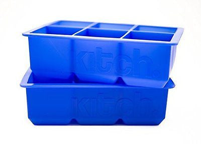 Large Cube Silicone Ice Tray 2 Pack by Kitch Giant 2 Inch Ice Cubes