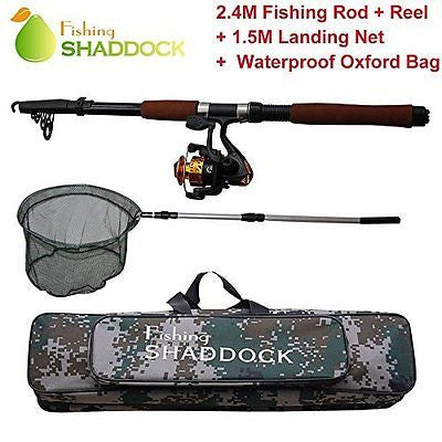 Shaddock Fishing ? 2.4M Spin Spinning Telescope Fishing Rod+High Speed Spinning