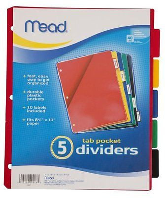 Mead 20038 Tab Dividers with Pocket, Assorted Colors, Pack of 5