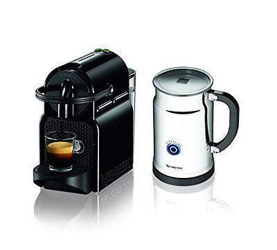 Nespresso Inissia Espresso Maker with Aeroccino Plus Milk Frother Black