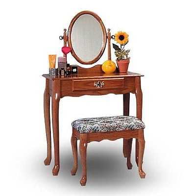 Oak Wood Vanity With Table & Bench Set