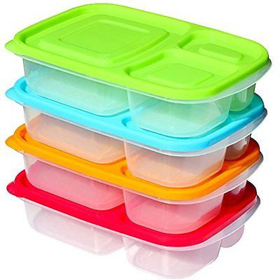 Sunsella Buddy Boxes 3 Compartment Containers Bento Divided Food Storage