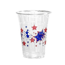 50 Count Disposable Plastic Printed 16-Ounce Party Cups Patriotic Stars
