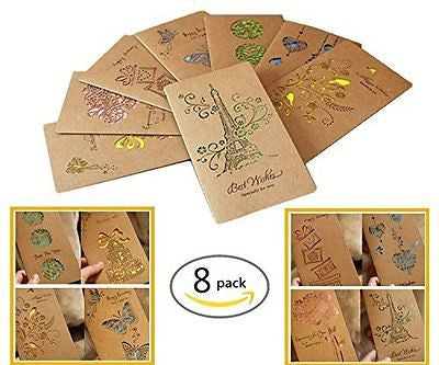 Omall (TM) 8 PCS Kraft Handmade Greeting Card for Birthday,Thanksgiving Day