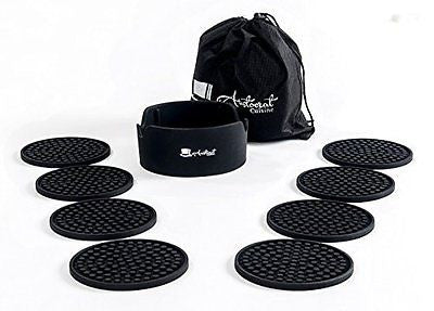 Premium Silicone Coasters 8 Pack Carry Bag Included by Aristocrat Cuisine