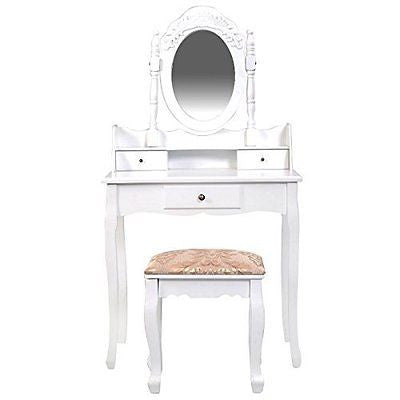 Giantex Vanity Table Jewelry Makeup Desk Bench Dresser w/ Stool 3 Drawer White