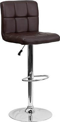 2 Pk. Contemporary Brown Quilted Vinyl Adjustable Height Bar Stool
