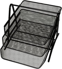 90206 3-Tier Steel Mesh Desk Tray Black (11 5/8