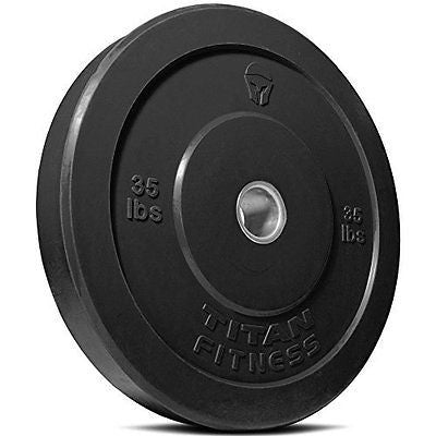 Titan Fitness 35 lb Olympic Bumper Plate Black Benchpress Strength Training