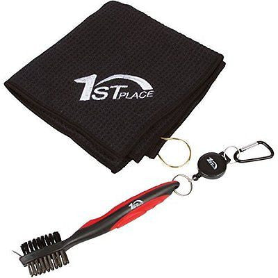 1st Place Golf Club Brush Cleaner Waffle Microfiber Towel Set
