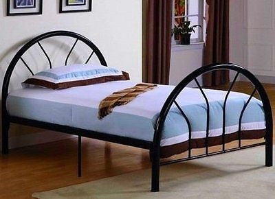 Roundhill Furniture Belledica Metal Bed Set with Headboard Black Twin