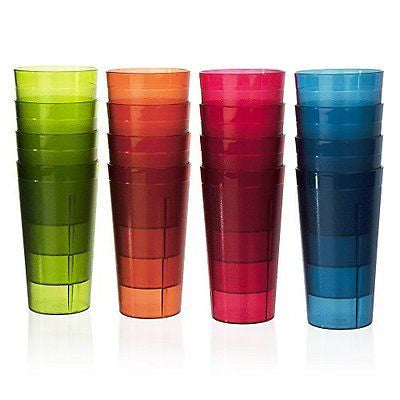 Break-Resistant Plastic 20oz Beverage Tumblers | Set of 16 in 4 Assorted Colors