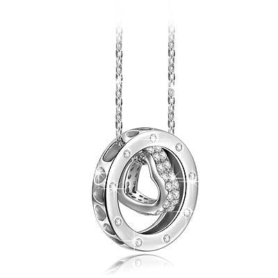 Qianse? *Love Story* 925 Sterling Silver/ Alloy Heart in Ring Pendant Necklace