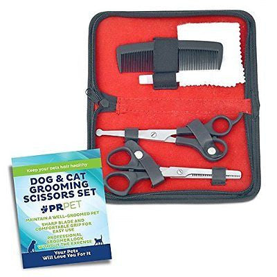 PR Pet Grooming Scissors Kit for Dog Professional 5 pc set Trims Easily