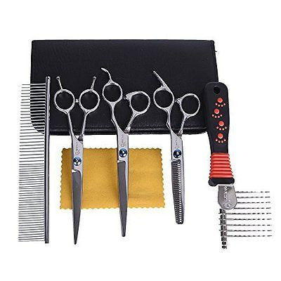 MHtech 7 Inches Stainless Steel Pet Grooming Scissors Kit,Professional Thinning
