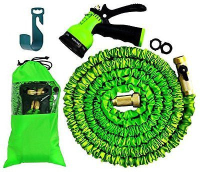 100FT Expandable Hose Set with 8 Nozzle Spray & Hanger - Bundled in cloth bag