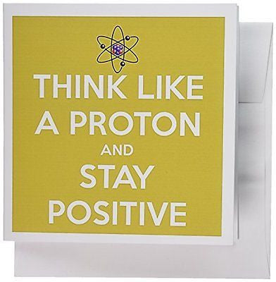3dRose Think Like A Proton and Stay Positive Yellow Science Teacher