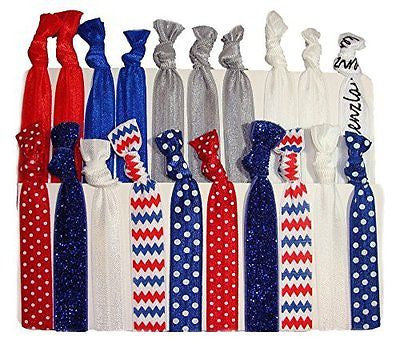 "Hair Ties Ponytail Holders ""Red White and Blue"" 4th of July 20 Pack"