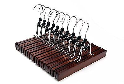 J.S. Hanger 10-Pack Solid Retro Finish Wooden Pant Hangers