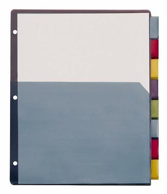Cardinal Single Pocket Poly Dividers, 8-Tab, Letter Size, Multi-Color (84017)