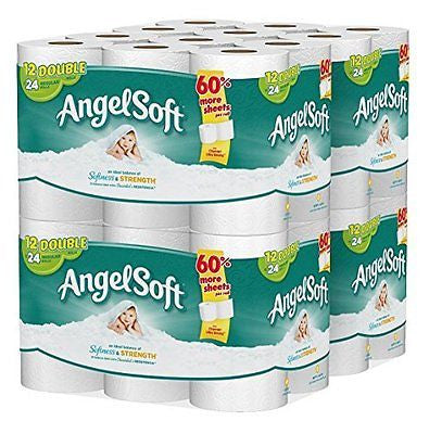 Angel Soft Bath Tissue 48 Double Rolls Toilet Paper 12 Count (Pack of 4)