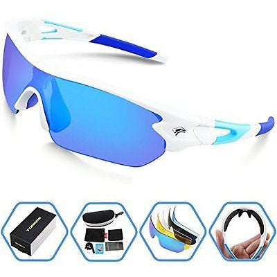 Torege Polarized Sports Sunglasses With 5 Interchangeable Lenes for Men Women
