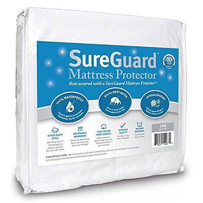 Crib Size SureGuard Mattress Protector Waterproof  -Fitted Cotton Terry Cover