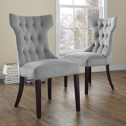 Dorel Living Clairborne Tufted Upholestered Dining Chair Gray Set of 2