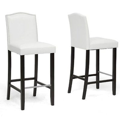 Baxton Studio Libra Modern Bar Stool with Nail Head Trim White Set of 2